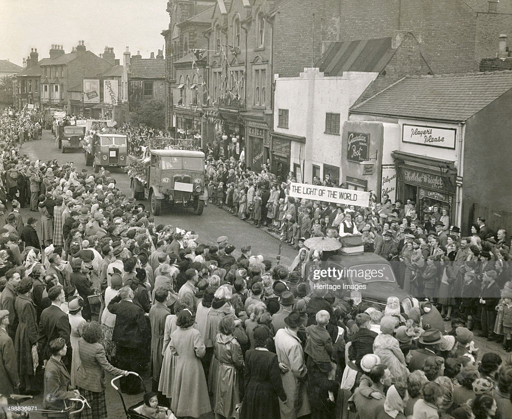 Festival of Britain celebrations Baker Street Hucknall Nottinghamshire 1951