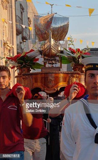 Festival of San Bartolomeo procession, in Lipari : Stock Photo