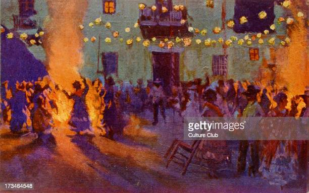 Festival of San Juan Spain Dancing round the bonfires during the festivities possibly in Barcelona Mariano Bertuchi Spanish artist 6 February 1884 20...