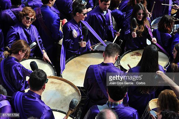 Festival participants play the drums during Holy Week celebrations on March 25 2016 in Calanda Spain