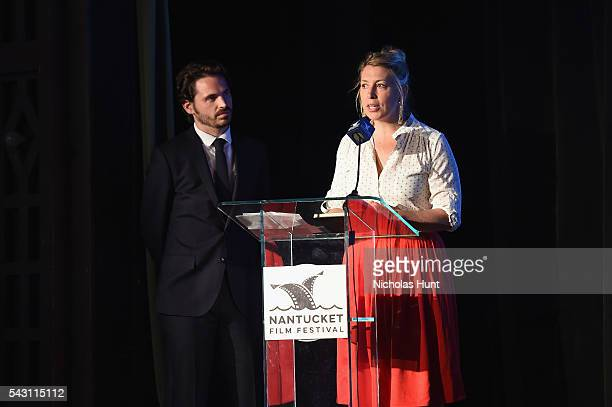 Festival Producer Bill Curran and Executive Director of the Nantucket Film Festival Mystelle Brabbee speak onstage during the Screenwriters Tribute...