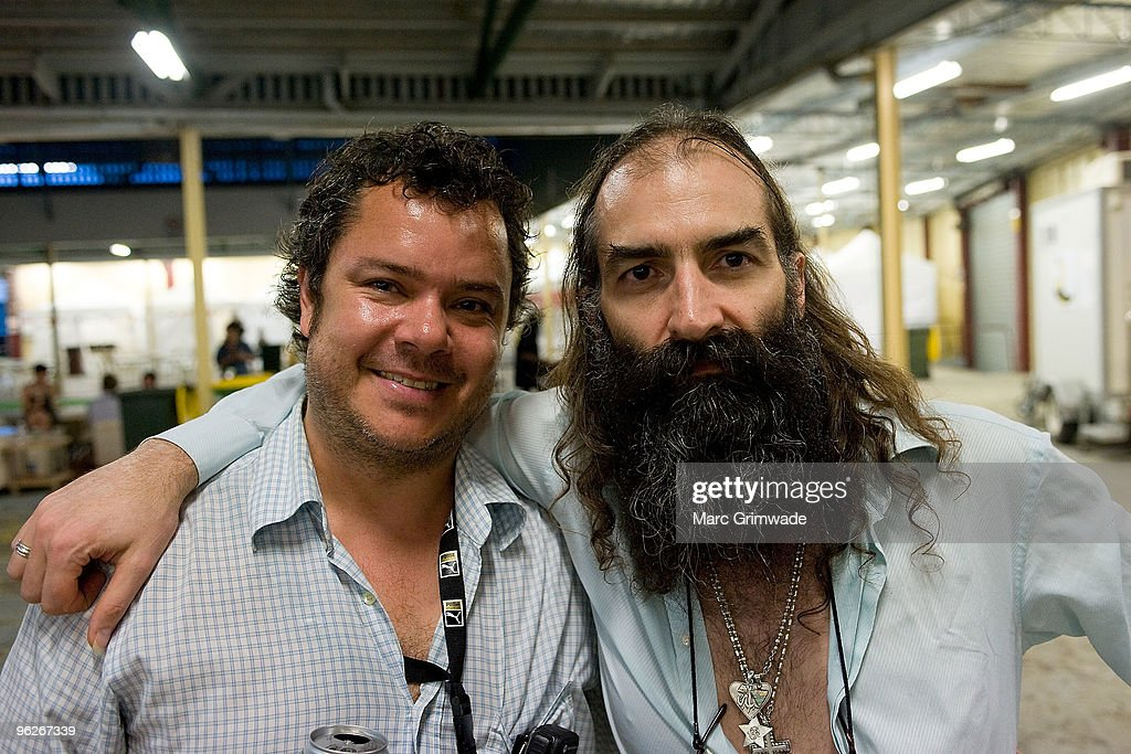 Festival promoter Danny Rogers and Warren Ellis from the band The Dirty Three backstage at the Brisbane leg of the Laneway Festival in Fortitude...