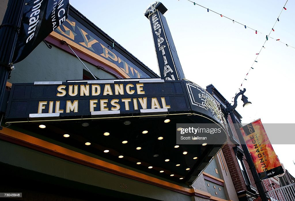 Festival signage is seen at the Egyptian Theatre on Main Street during the 2007 Sundance Film Festival on January 19 2007 in Park City Utah