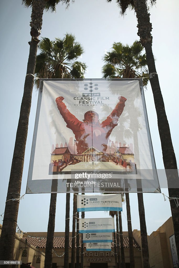 Festival signage is seen during day 2 of the TCM Classic Film Festival 2016 on April 29, 2016 in Los Angeles, California. 25826_008