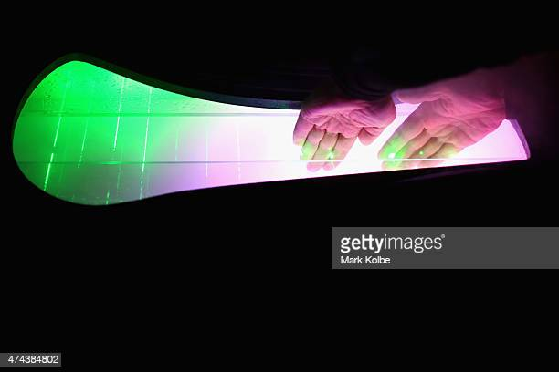 A festival visitor interact with the 'Threads' installation as part of the Vivid Sydney Festival on May 22 2015 in Sydney Australia Vivid Sydney is...