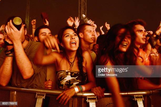 Festival visitors enjoy a concert on Sziget festival on August 14 2017 in Budapest Hungary