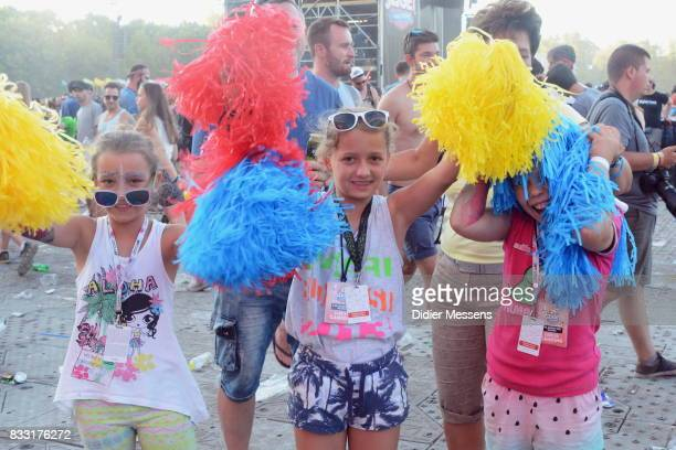 Festival visitors pose for a pictures after the pom pom party on Sziget festival on August 14 2017 in Budapest Hungary