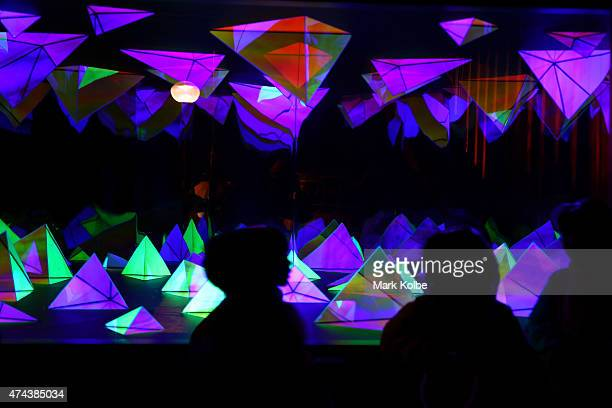 Festival visitors view the 'Kaleidoscope' installation as part of the Vivid Sydney Festival on May 22 2015 in Sydney Australia Vivid Sydney is an...