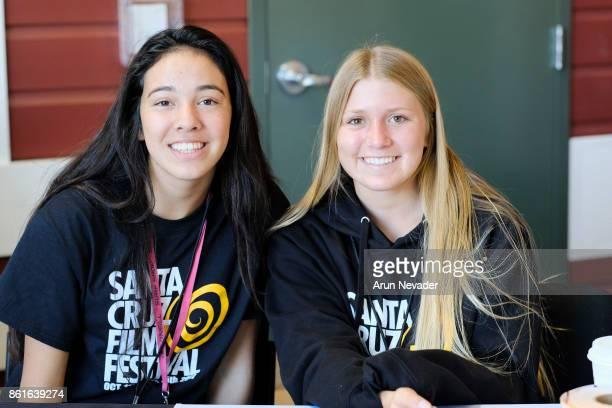 Festival volunteers pose for picture during the Santa Cruz Film Festival at Tannery Arts Center on October 14 2017 in Santa Cruz California