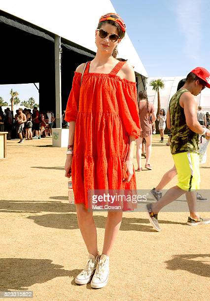 Festivalgoer attend day 1 of the 2016 Coachella Valley Music Arts Festival Weekend 2 at the Empire Polo Club on April 22 2016 in Indio California
