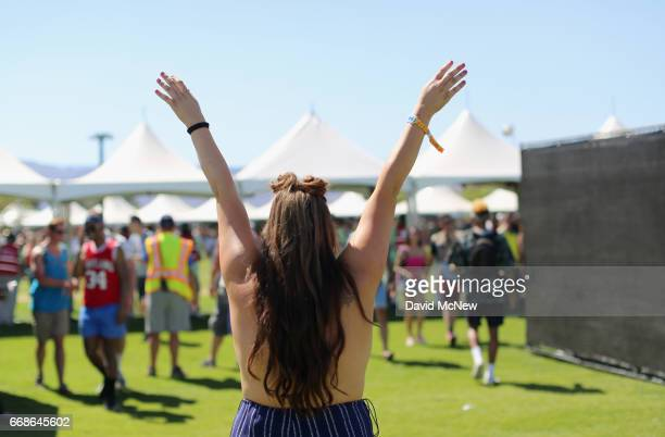 Festivalgoer attends day 1 of the Coachella Valley Music And Arts Festival at the Empire Polo Club on April 14 2017 in Indio California