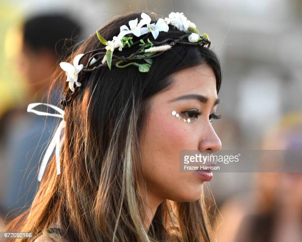 Festivalgoer attends day 2 of the 2017 Coachella Valley Music Arts Festival at the Empire Polo Club on April 23 2017 in Indio California