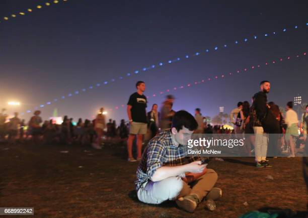 A festivalgoer attends day 2 of the Coachella Valley Music And Arts Festival at the Empire Polo Club on April 15 2017 in Indio California