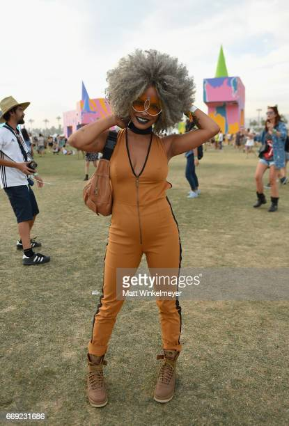 Festivalgoer attends day 3 of the 2017 Coachella Valley Music Arts Festival Weekend 1 at the Empire Polo Club on April 16 2017 in Indio California