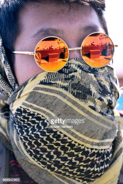 Festivalgoer attends the performance of Banks Steelz during day 2 of the Coachella Valley Music And Arts Festival at the Empire Polo Club on April 15...