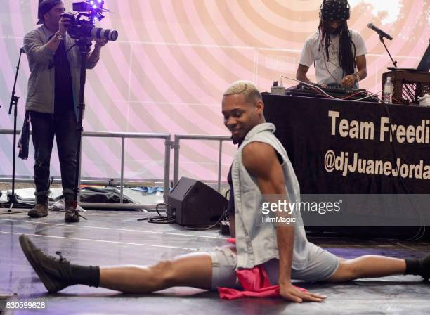 Festivalgoer does the splits during Beignets Bounce on the Gastro Magic Stage during the 2017 Outside Lands Music And Arts Festival at Golden Gate...