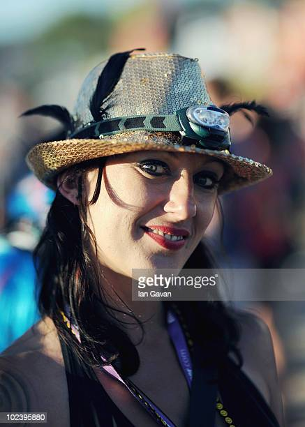 A festivalgoer enjoys Day 1 of the Glastonbury Festival on June 24 2010 in Glastonbury England This year sees the 40th anniversary of the festival...