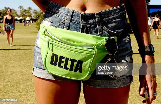 Festivalgoer fashion detail attends day 2 of the 2016 Coachella Valley Music Arts Festival Weekend 2 at the Empire Polo Club on April 23 2016 in...