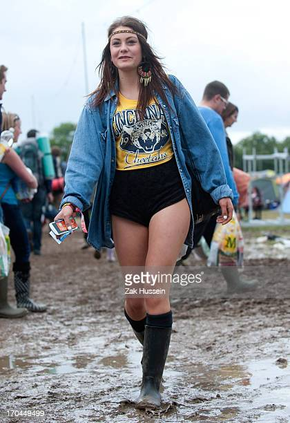 A festivalgoer on day 1 of the Isle of Wight Festival at Seaclose Park on June 13 2013 in Newport Isle of Wight