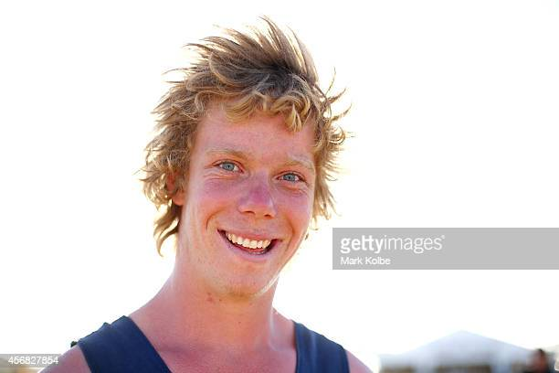 A festivalgoer poses on the second day of the 2014 Deni Ute Muster at the Play on the Plains Festival ground on October 4 2014 in Deniliquin...