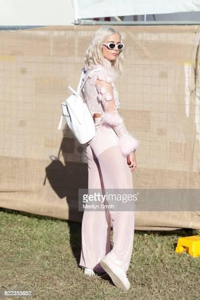 Festivalgoer wearing all Dyspnea during Splendour in the Grass 2017 on July 23 2017 in Byron Bay Australia