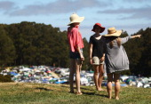 Festivalgoers arrive onsite on day one of the Falls Music Festival on December 29 2011 in Lorne Australia