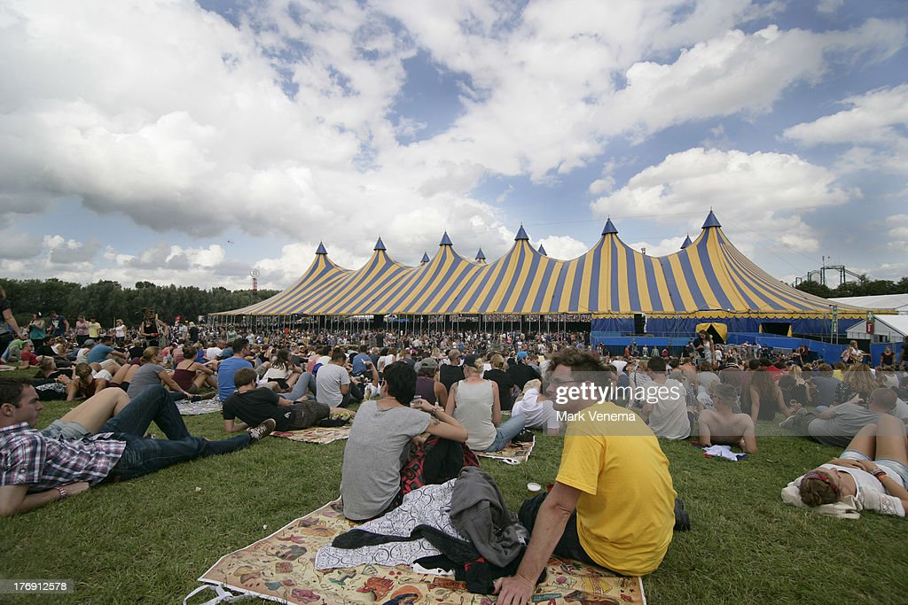 Festival-goers at day 3 of the Lowlands Festival on August 18, 2013 in Biddinghuizen, Netherlands.