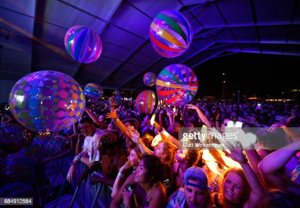Festivalgoers at the Migos performance during the KickOff party for the 2017 Hangout Music Festival on May 18 2017 in Gulf Shores Alabama