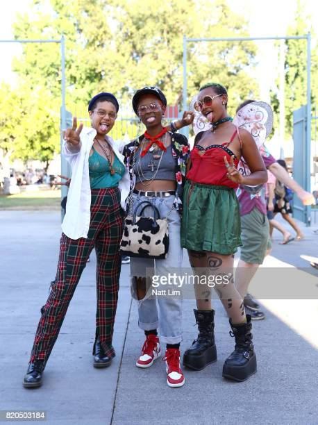 Festivalgoers attend day 1 of FYF Fest 2017 on July 21 2017 at Exposition Park in Los Angeles California