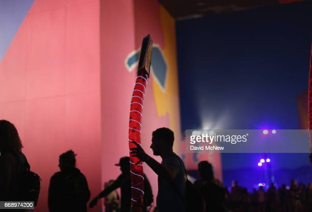 Festivalgoers attend day 2 of the 2017 Coachella Valley Music Arts Festival Weekend 1 at the Empire Polo Club on April 15 2017 in Indio California
