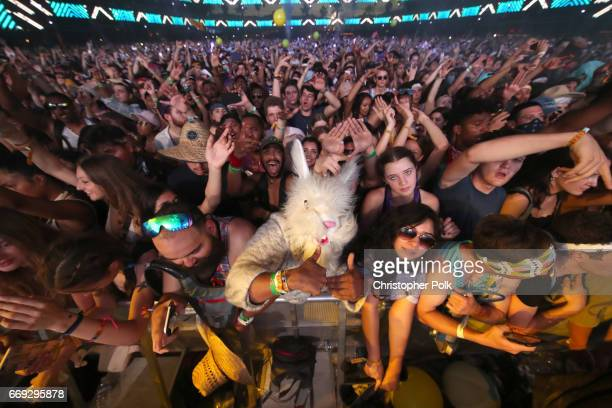 Festivalgoers attend day 3 of the Coachella Valley Music And Arts Festival at the Empire Polo Club on April 16 2017 in Indio California