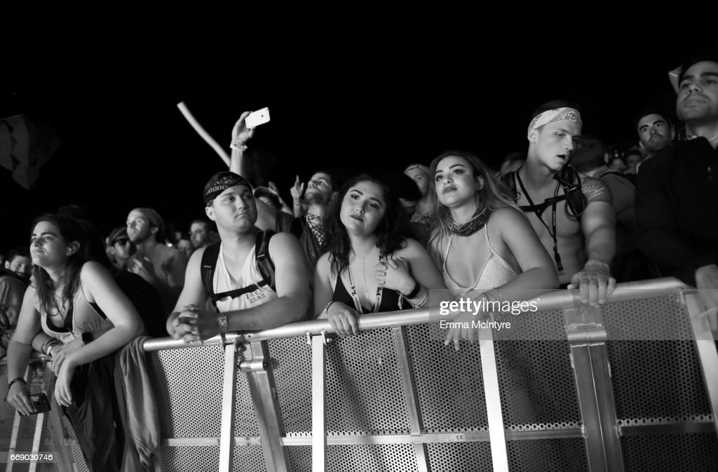 Festivalgoers attend the Mojave Tent during day 2 of the Coachella Valley Music And Arts Festival (Weekend 1) at the Empire Polo Club on April 15, 2017 in Indio, California.