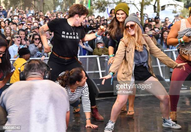 Festivalgoers bounce onstage for Beignets Bounce at Gastro Magic stage during the 2017 Outside Lands Music And Arts Festival at Golden Gate Park on...