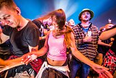 Festivalgoers dance by discolight on Day 3 of Przystanek Woodstock Festival on August 1 2015 in Kostrzyn Nad Odra Poland The annual 3 day music...
