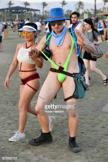Festivalgoers during day 3 of the 2017 Coachella Valley Music Arts Festival at the Empire Polo Club on April 23 2017 in Indio California