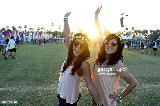 Festivalgoers enjoy the sunset during day 1 of the 2015 Coachella Valley Music And Arts Festival at The Empire Polo Club on April 17 2015 in Indio...