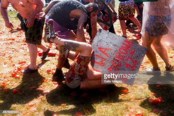 Festivalgoers get rowdy on Day 3 of Przystanek Woodstock Festival on August 1 2015 in Kostrzyn Nad Odra Poland The annual 3 day music festival...