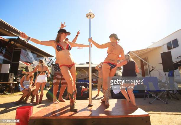 Festivalgoers in RV resort during day 2 of 2017 Stagecoach California's Country Music Festival at the Empire Polo Club on April 29 2017 in Indio...