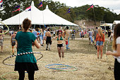 Festivalgoers learn how to hoopla at Splendour In the Grass 2014 on July 26 2014 in Byron Bay Australia