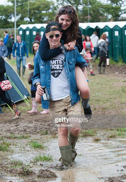 Festivalgoers on day 1 of the Isle of Wight Festival at Seaclose Park on June 13 2013 in Newport Isle of Wight