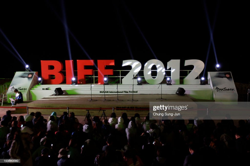 Festival-goers pictured at BIFF Plaza during the 17th Busan International Film Festival (BIFF) at the Haeundae beach on October 8, 2012 in Busan, South Korea. The biggest film festival in Asia showcases 304 films from 75 countries and runs from October 04 until October 13..