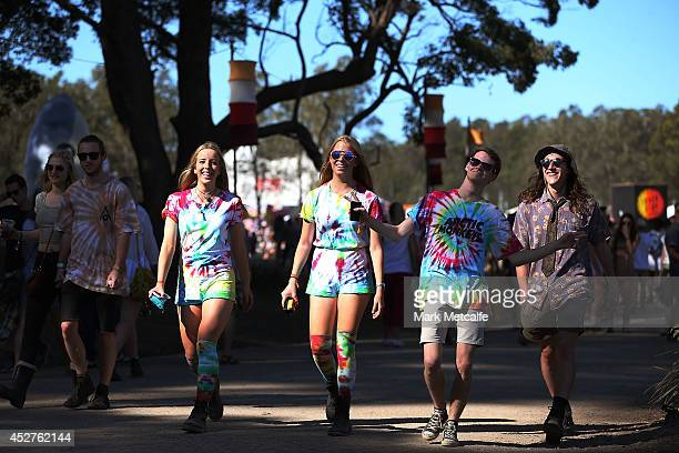 Festivalgoers walk around the site at Splendour In the Grass 2014 on July 27 2014 in Byron Bay Australia