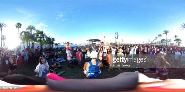 Festivalgoers watch Bastille perform at the Outdoor Theatre during day 2 of the Coachella Valley Music And Arts Festival at the Empire Polo Club on...
