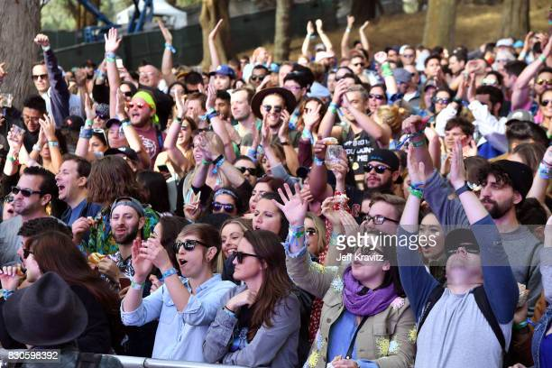 Festivalgoers watch Beignets Bounce at Gastro Magic stage during the 2017 Outside Lands Music And Arts Festival at Golden Gate Park on August 11 2017...