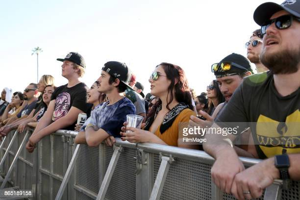 Festivalgoers watch Highly Suspect perform at Echo Stage during day 3 of the 2017 Lost Lake Festival on October 22 2017 in Phoenix Arizona