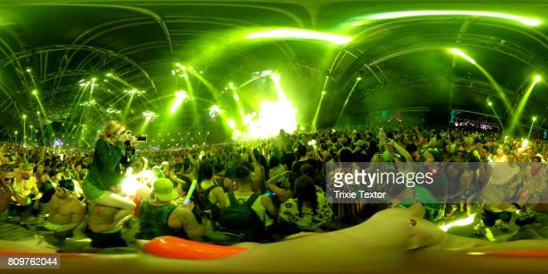 Festivalgoers watch Marshmello perform in the Sahara Tent during day 3 of the Coachella Valley Music And Arts Festival at the Empire Polo Club on...