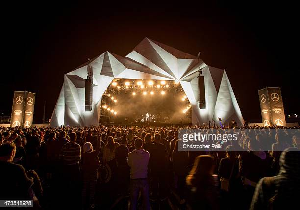 Festivalgoers watch recording artist Jessie J perform onstage during Rock in Rio USA at the MGM Resorts Festival Grounds on May 15 2015 in Las Vegas...