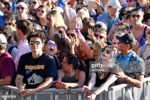 Festivalgoers watch Snakehips perform at Piestewa Stage during day 3 of the 2017 Lost Lake Festival on October 22 2017 in Phoenix Arizona