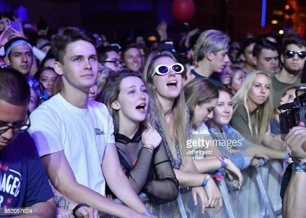 Festivalgoers watch Two Door Cinema Club perform on Downtown Stage during day 1 of the 2017 Life Is Beautiful Festival on September 22 2017 in Las...