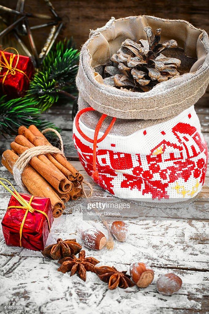 Festive bag for Christmas : Foto de stock